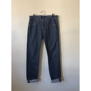 RAG&BONE MENS blue denim slim straight button jean